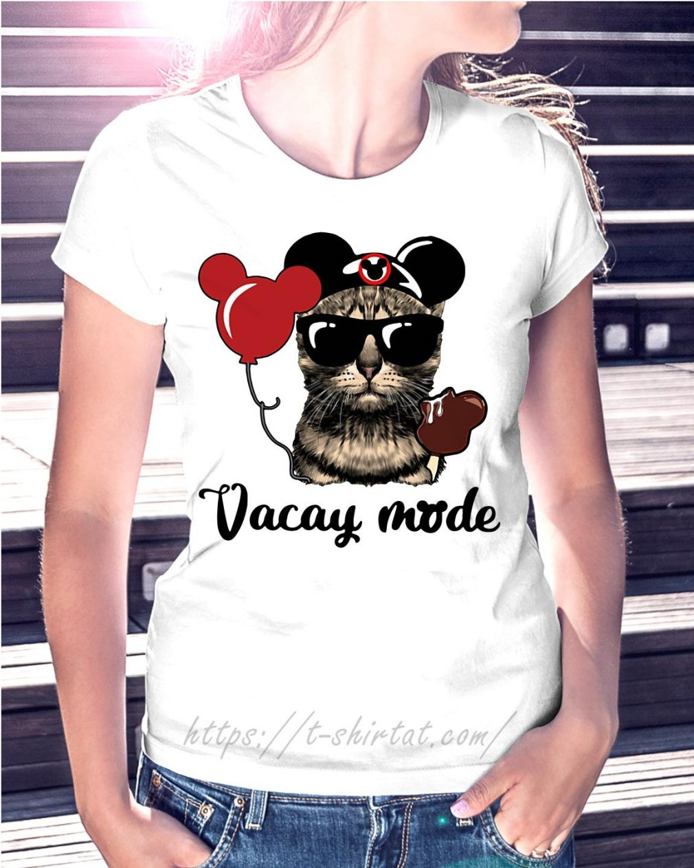 Cat with Mickey Mouse ears vacay mode T-shirt