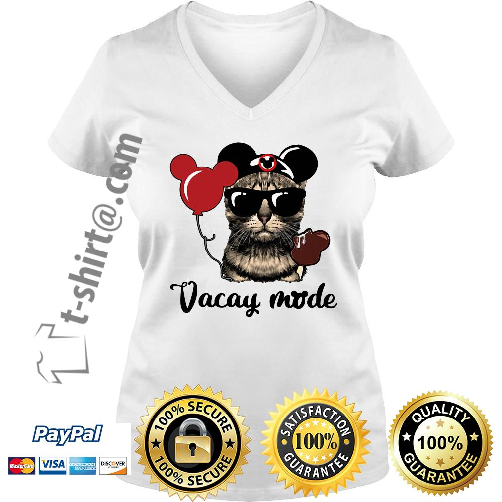 Cat with Mickey Mouse ears vacay mode V-neck T-shirt
