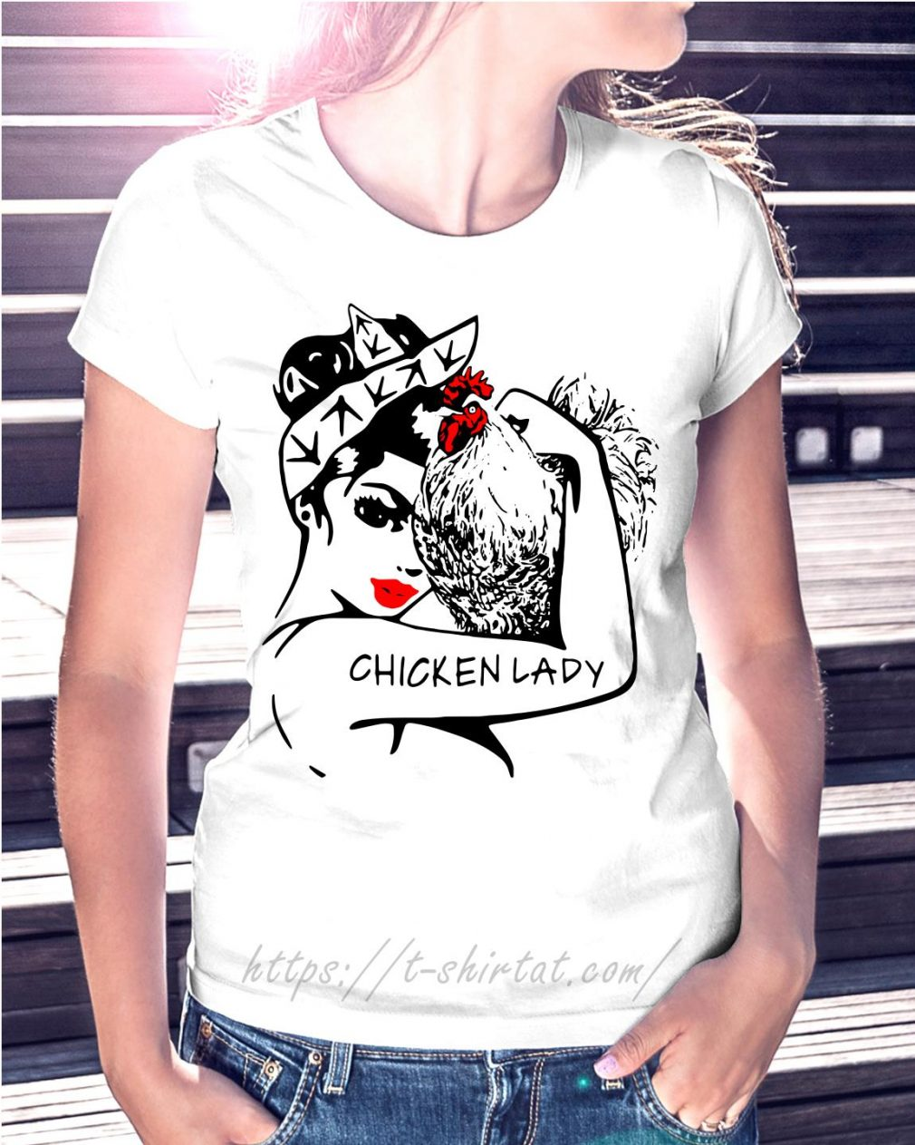 Chicken and strong woman chicken lady T-shirt