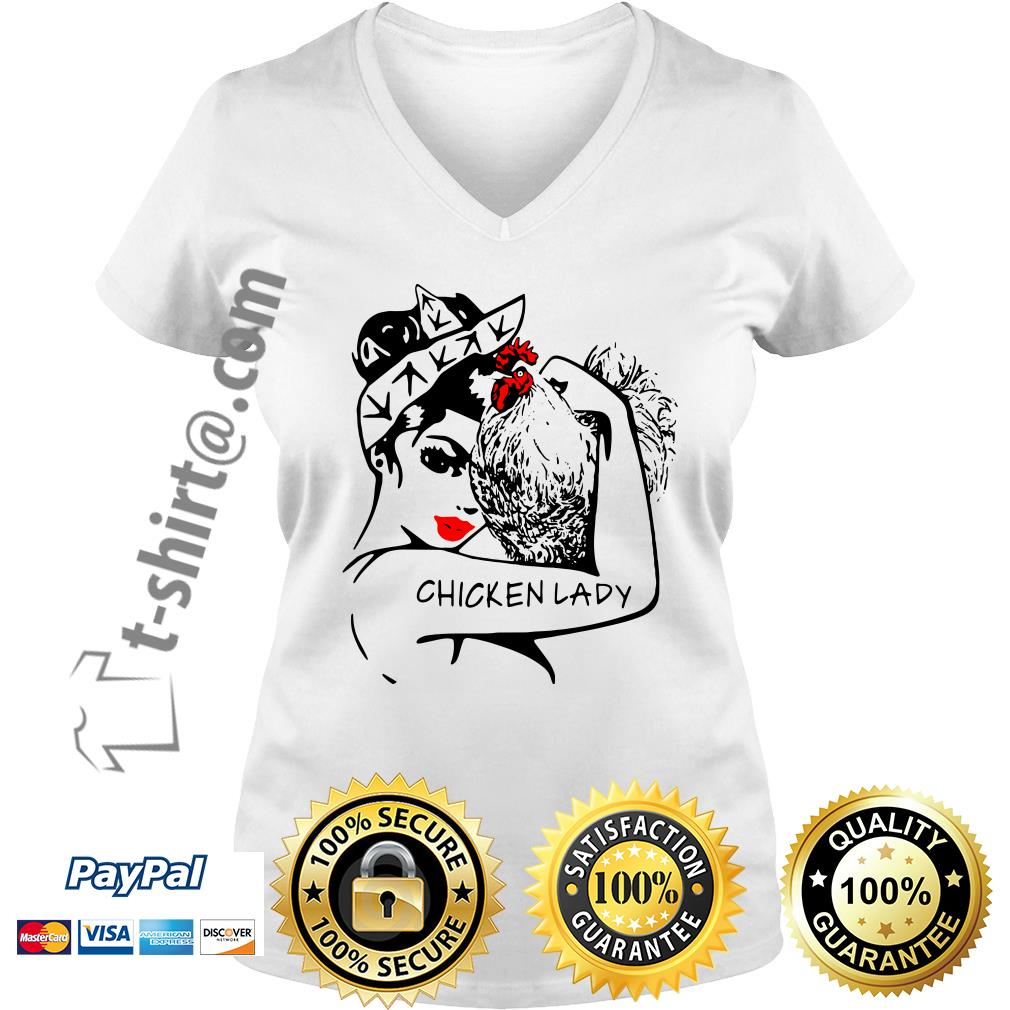 Chicken and strong woman chicken lady V-neck T-shirt