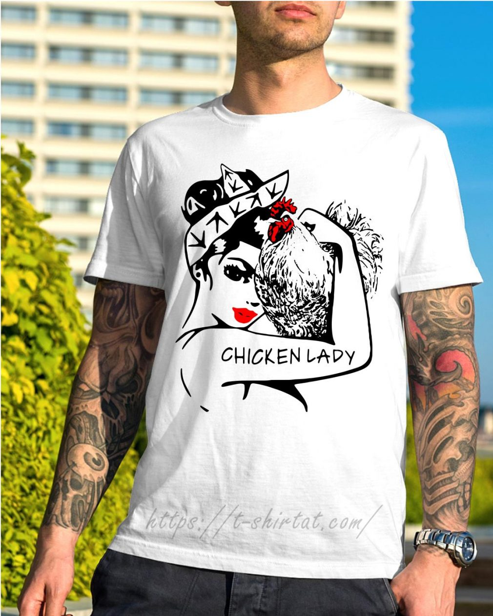 Chicken and strong woman chicken lady shirt