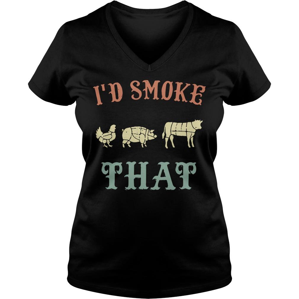 Chicken pig cow I'd smoke that BBQ V-neck T-shirt