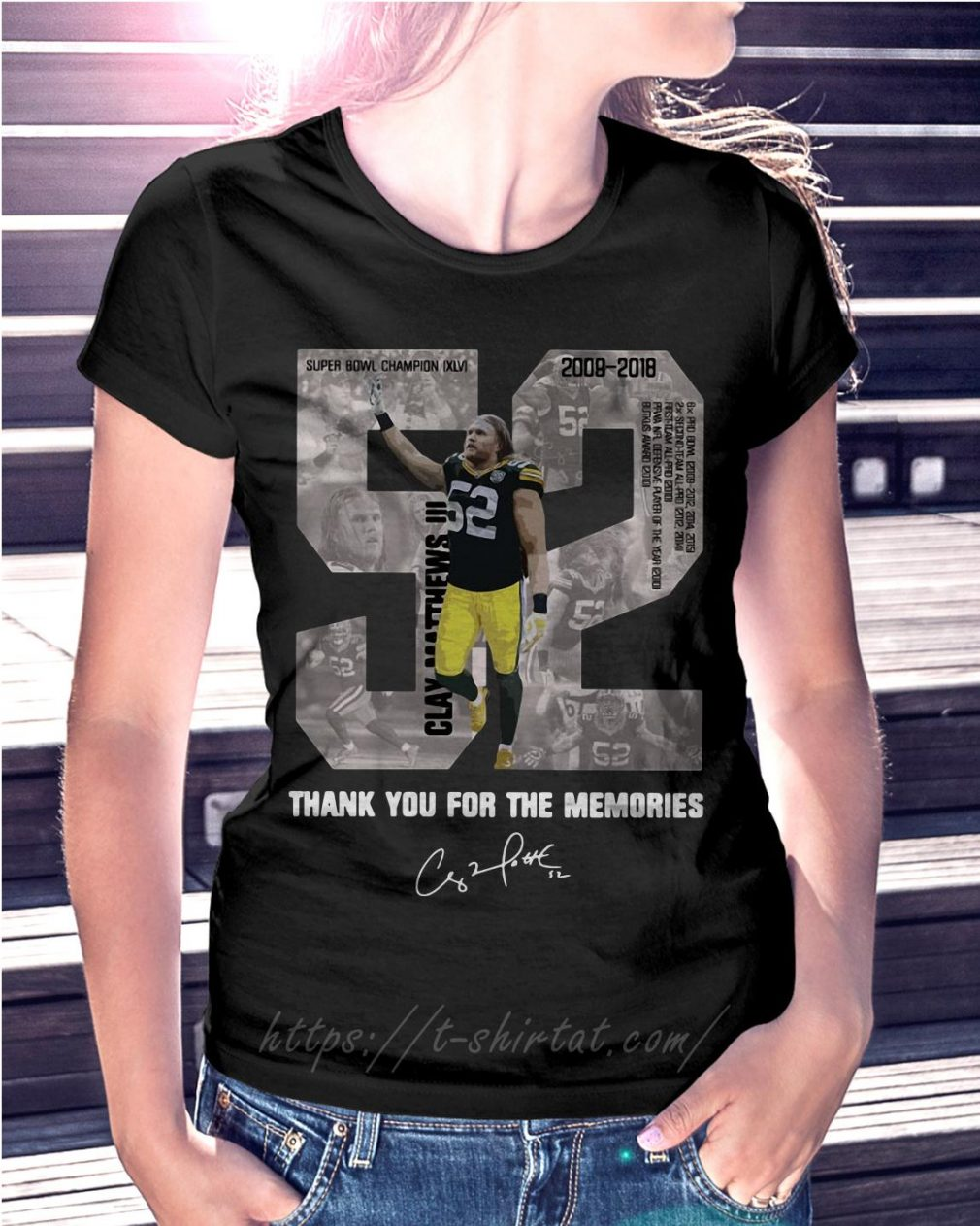 Clay Matthews 52 thank you for the memories signature Ladies Tee