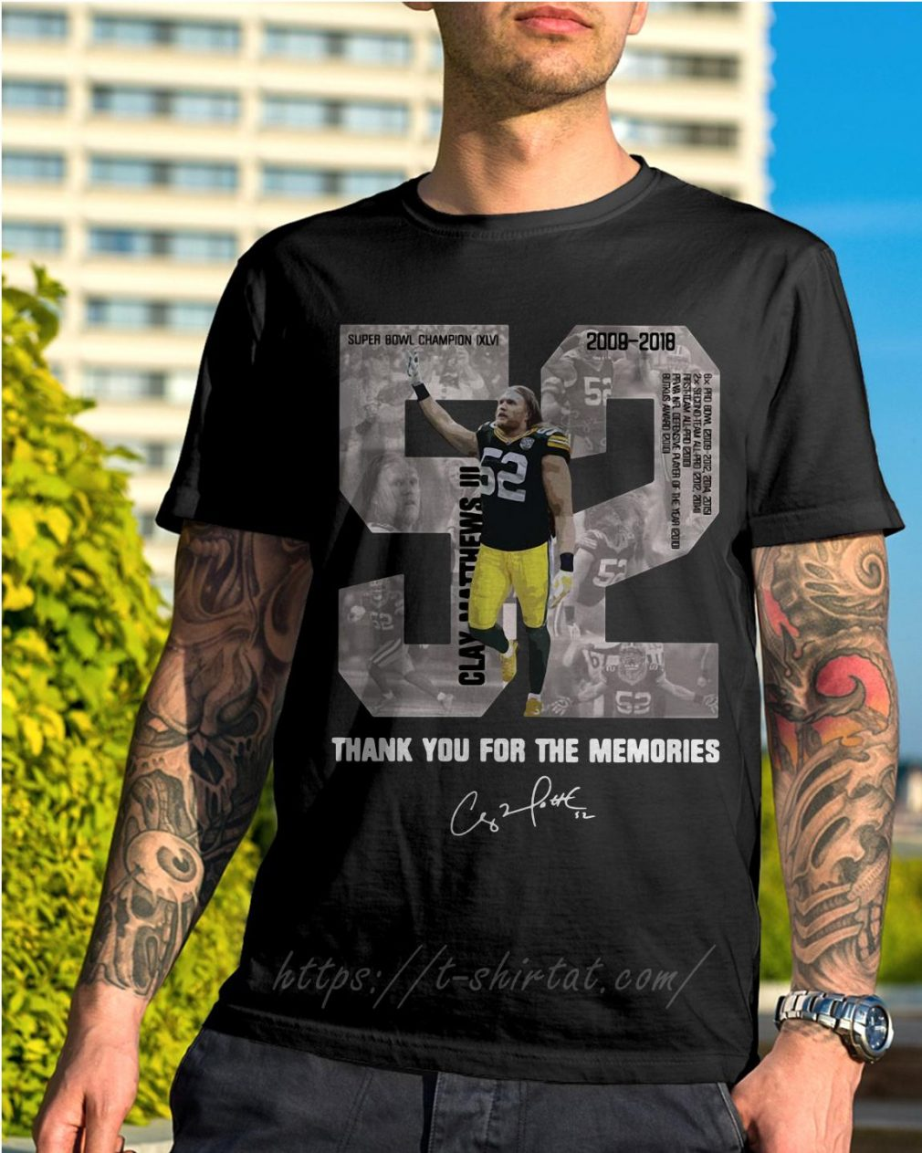Clay Matthews 52 thank you for the memories signature shirt