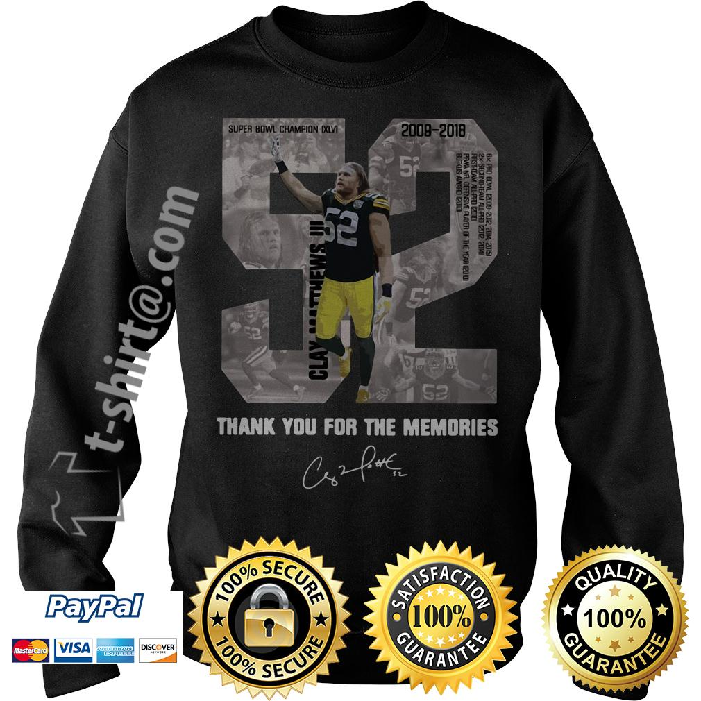 Clay Matthews 52 thank you for the memories signature Sweater