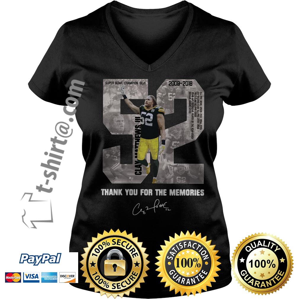 Clay Matthews 52 thank you for the memories signature V-neck T-shirt