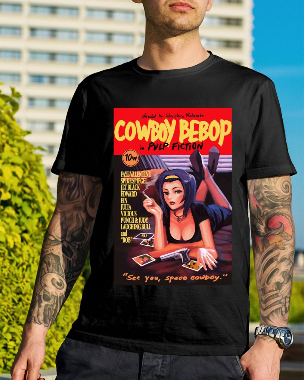 Cowboy bebop pulp fiction see you space cowboy shirt