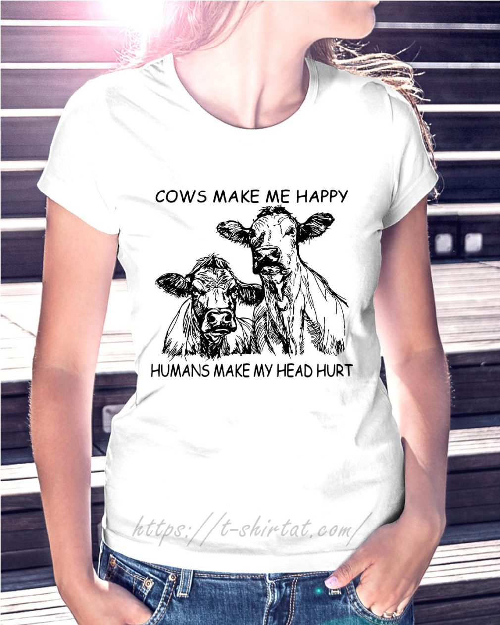Cows make me happy humans make my head hurt Ladies Tee