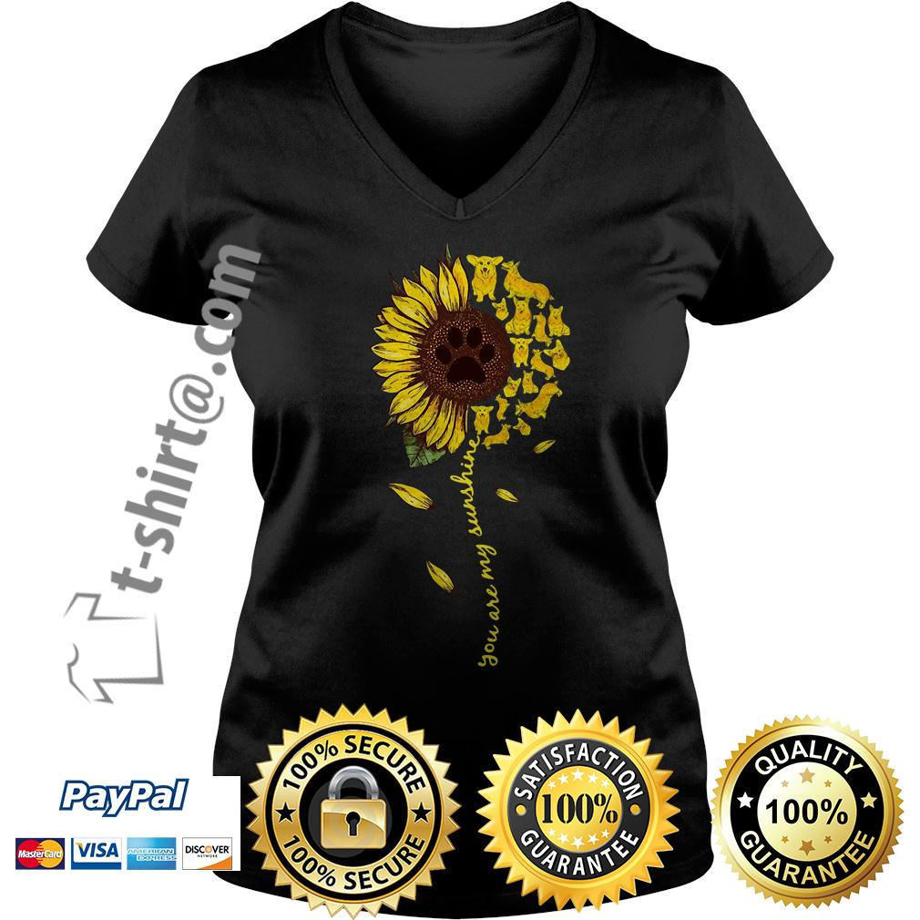 Dachshund sunflower you are my sunshine V-neck T-shirt