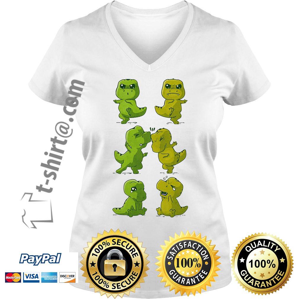Dinosaurs T-rex fusion dance V-neck T-shirt