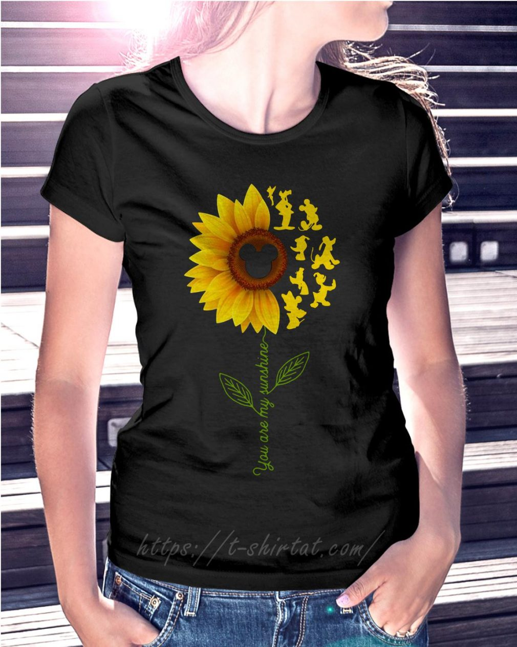 Disney characters sunflower you are my sunshine Ladies Tee