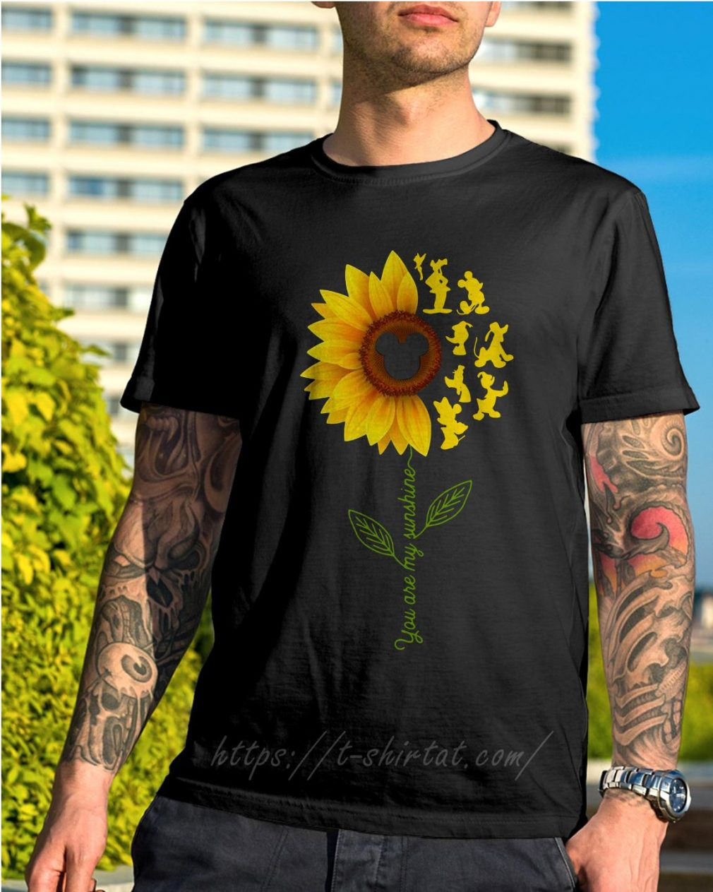 Disney characters sunflower you are my sunshine shirt