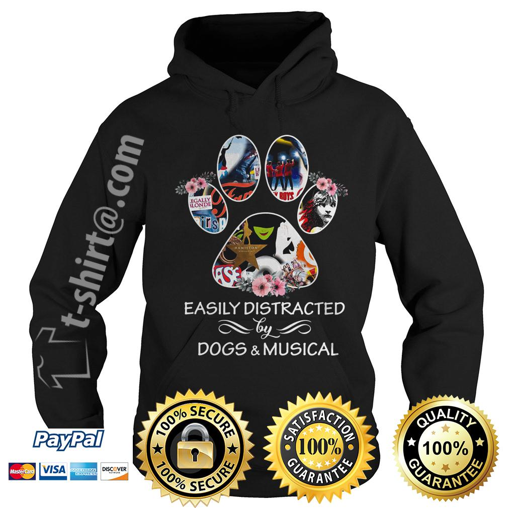 Dog paw easily distracted by dogs and musical Hoodie