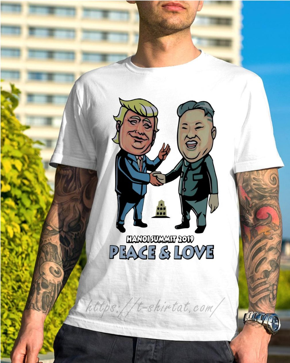 Donald Trump and Kim Jong Un Hanoi Summit 2019 peace and love shirt