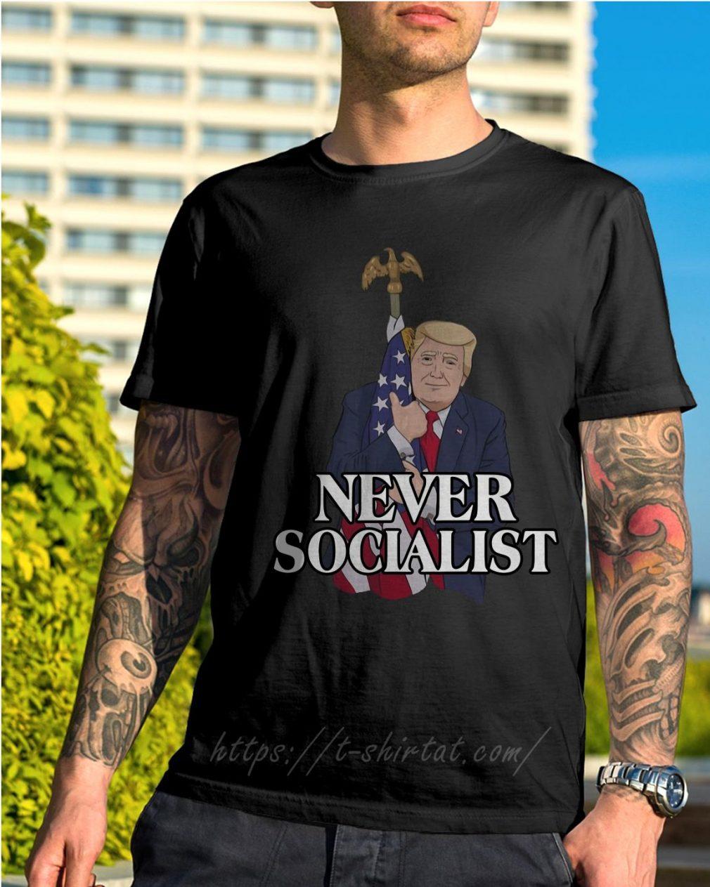 Donald Trump love the American flag never socialist shirt