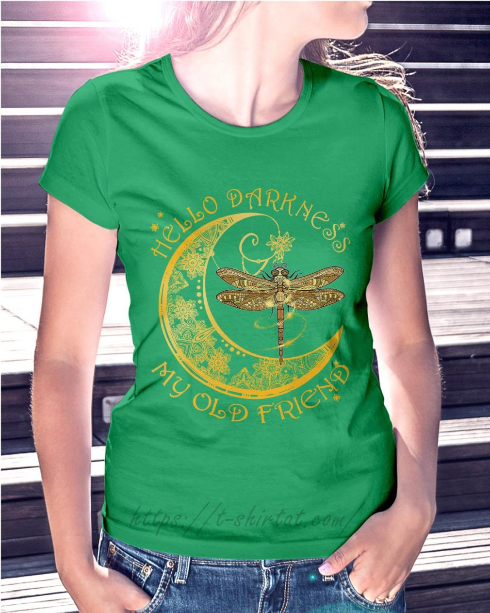 Dragonfly hello darkness my old friend Ladies Tee green