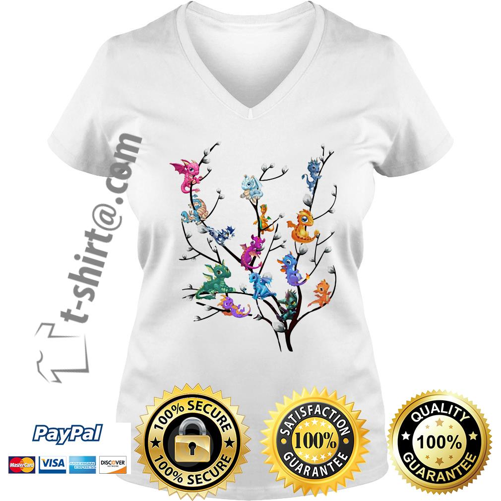 Dragons in willow tree V-neck T-shirt