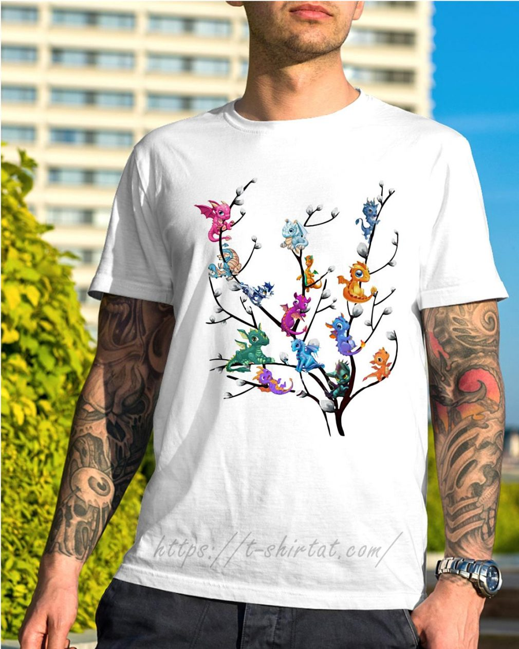 Dragons in willow tree shirt