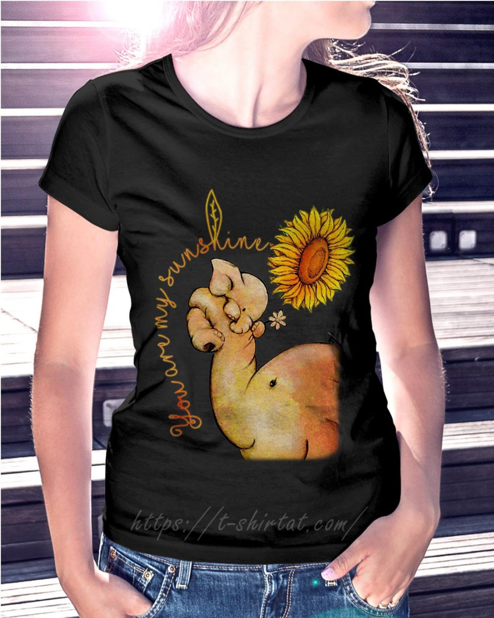 Elephant and sunflower you are my sunshine Ladies Tee