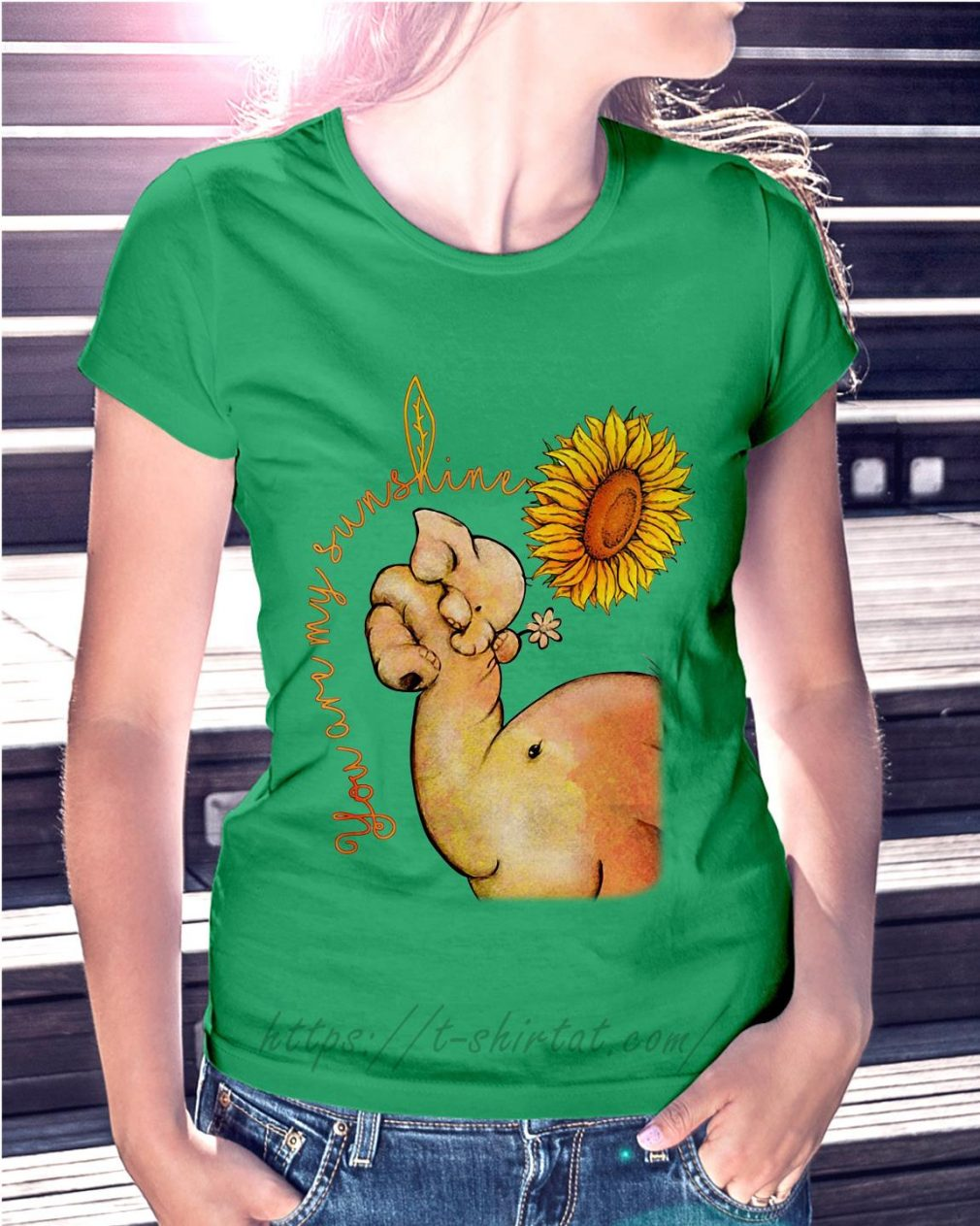 Elephant and sunflower you are my sunshine Ladies Tee green