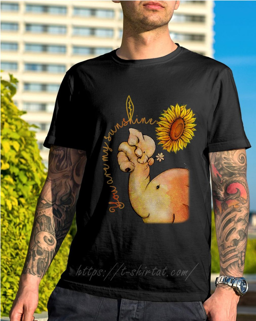 Elephant and sunflower you are my sunshine shirt