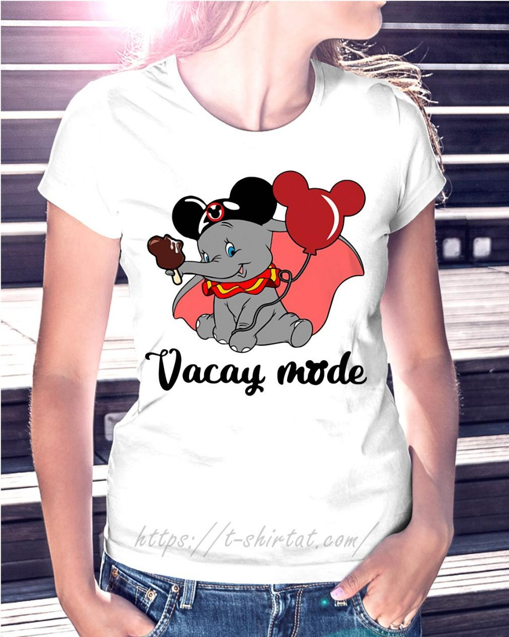 Elephant with Mickey Mouse ears vacay mode T-shirt
