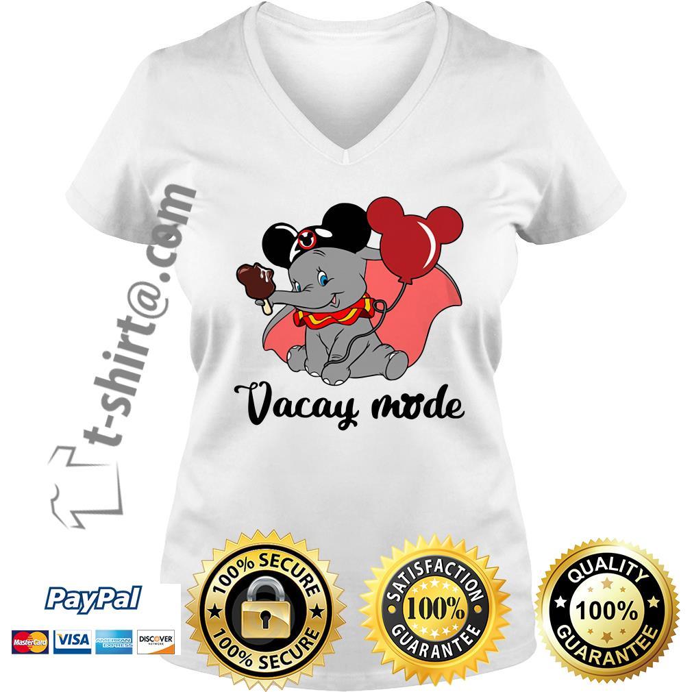 Elephant with Mickey Mouse ears vacay mode V-neck T-shirt