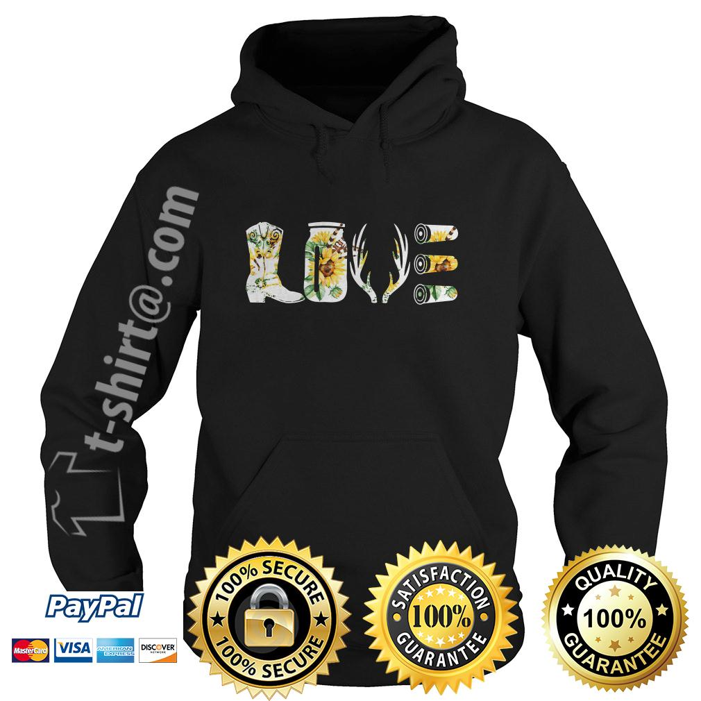 Floral hunting country love decal boots deer antlers rifle Hoodie