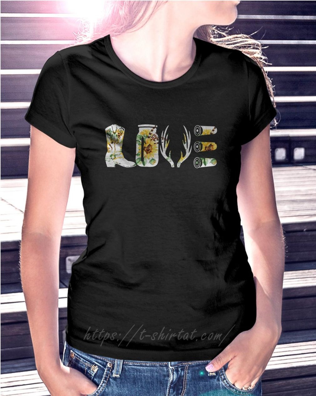 Floral hunting country love decal boots deer antlers rifle Ladies Tee