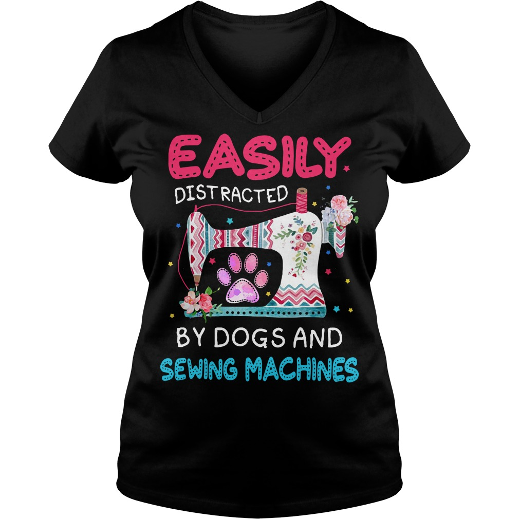 Flower easily distracted by dogs and sewing machines V-neck T-shirt