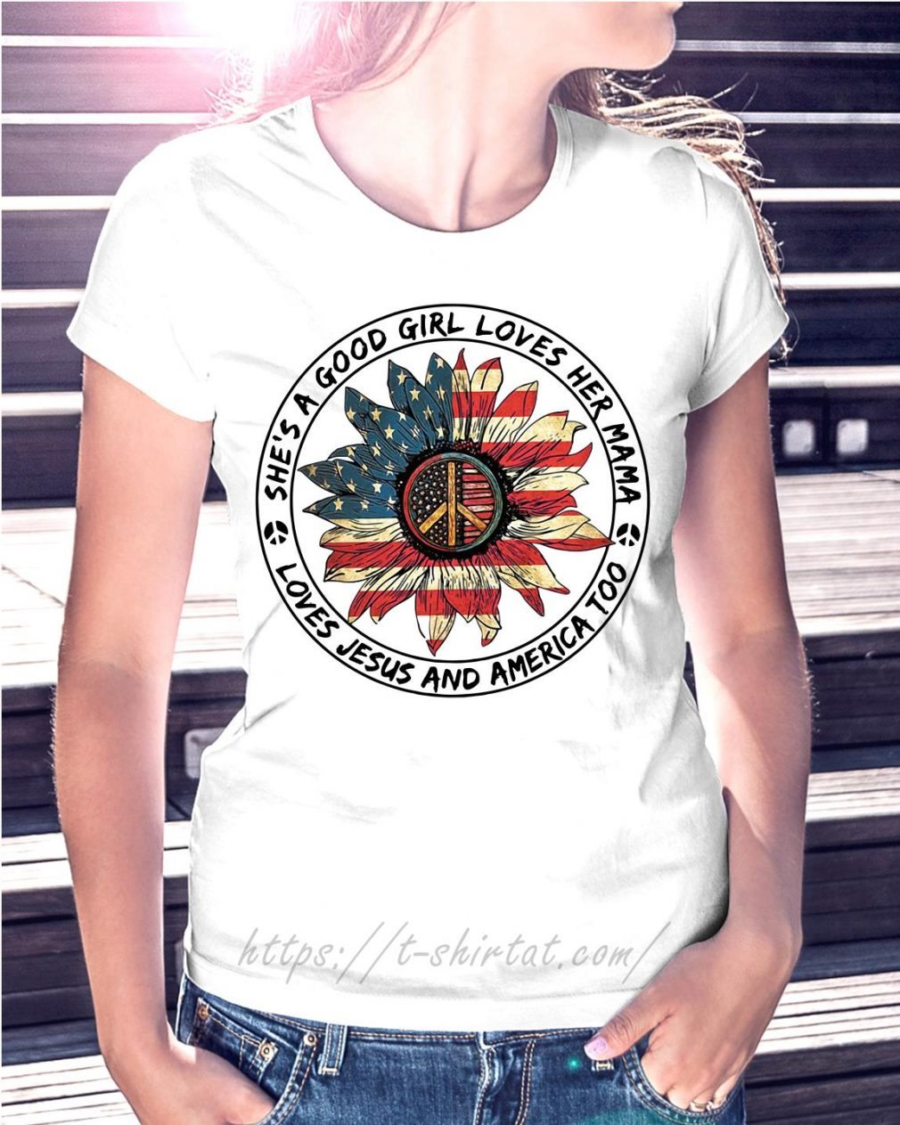 Flower hippie flag she's a good girl loves her mama loves Jesus and America too T-shirt