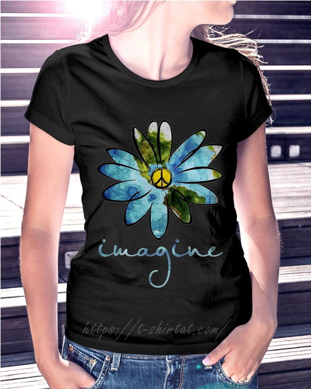 Flowers hippie peace Ladies Tee
