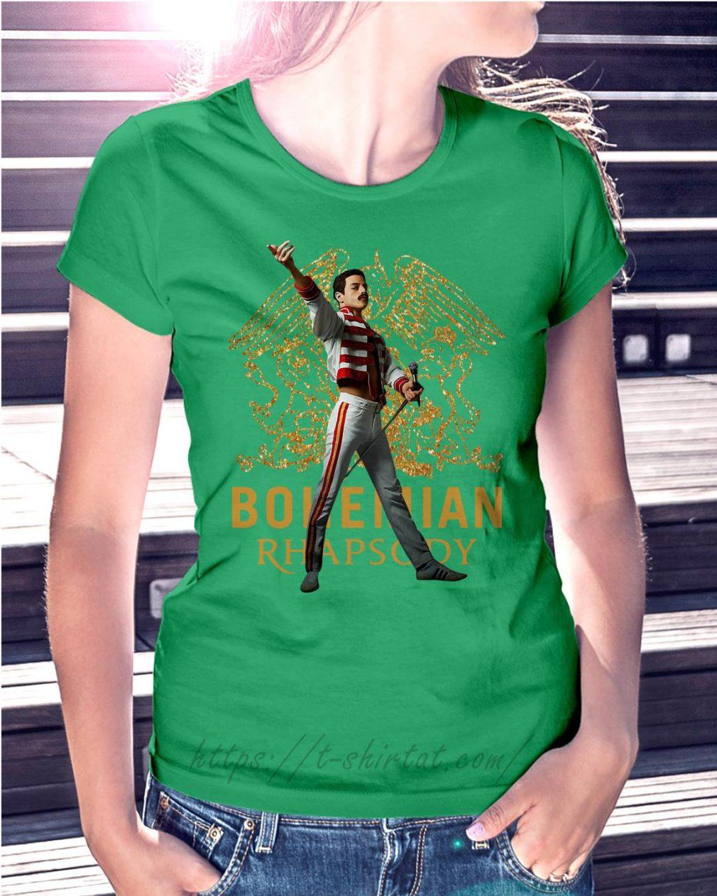 Freddie Mercury Queen Bohemian Rhapsody Ladies Tee green