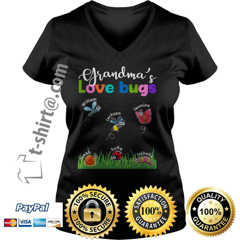 Grandma's love bugs William Jackson Jasmine Noah Sofia Isabella V-neck T-shirt