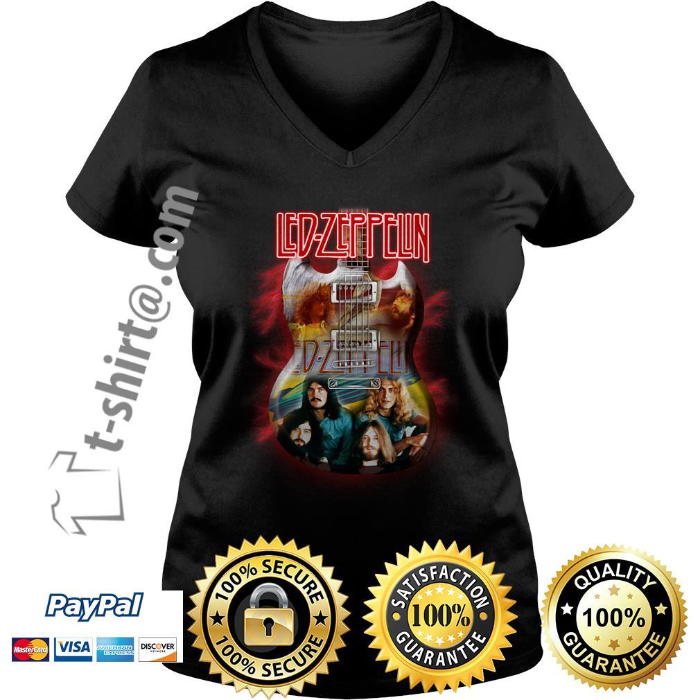 Guitar KISS Led Zeppelin V-neck T-shirt
