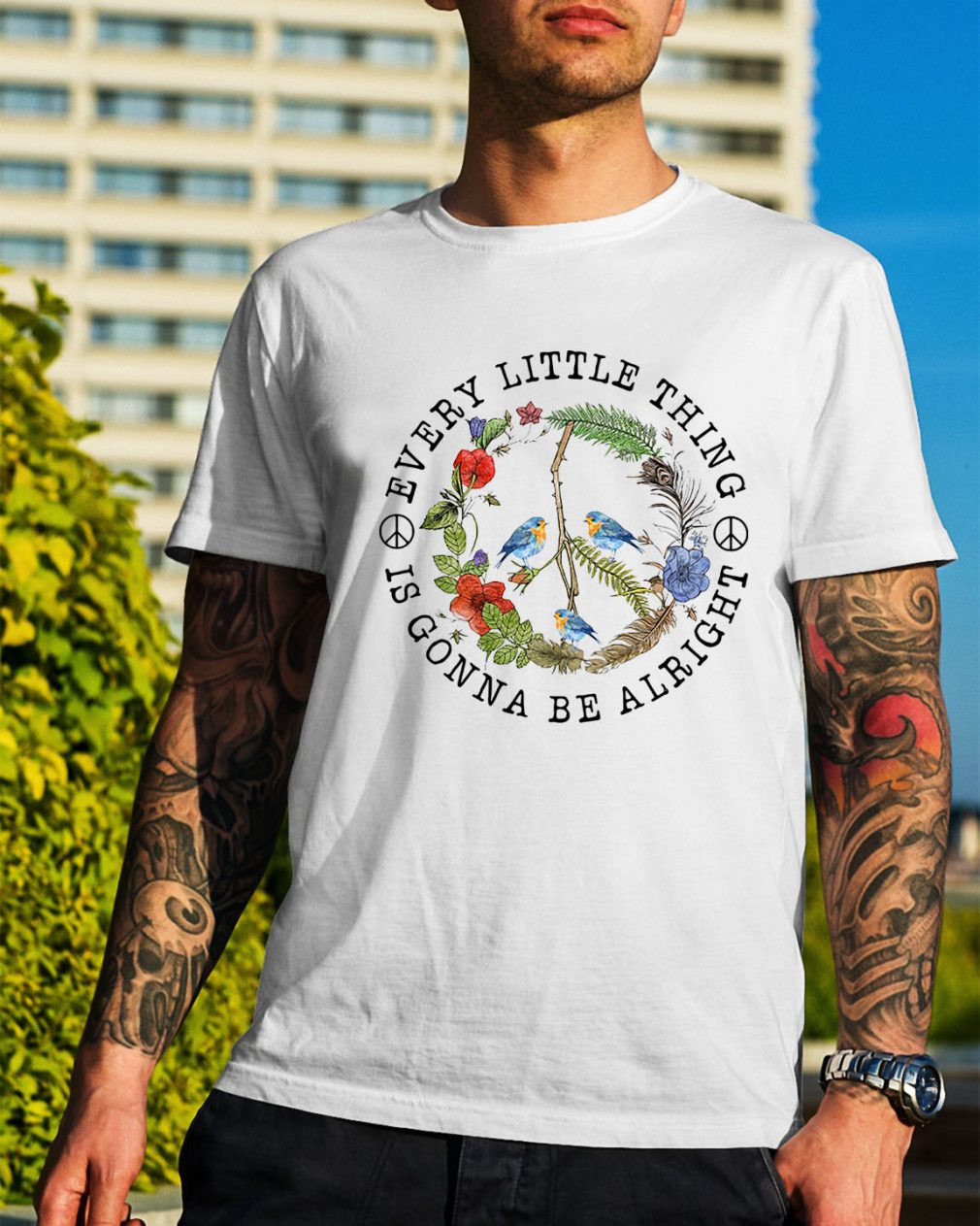 Hippie three birds very little thing is gonna be alright shirt