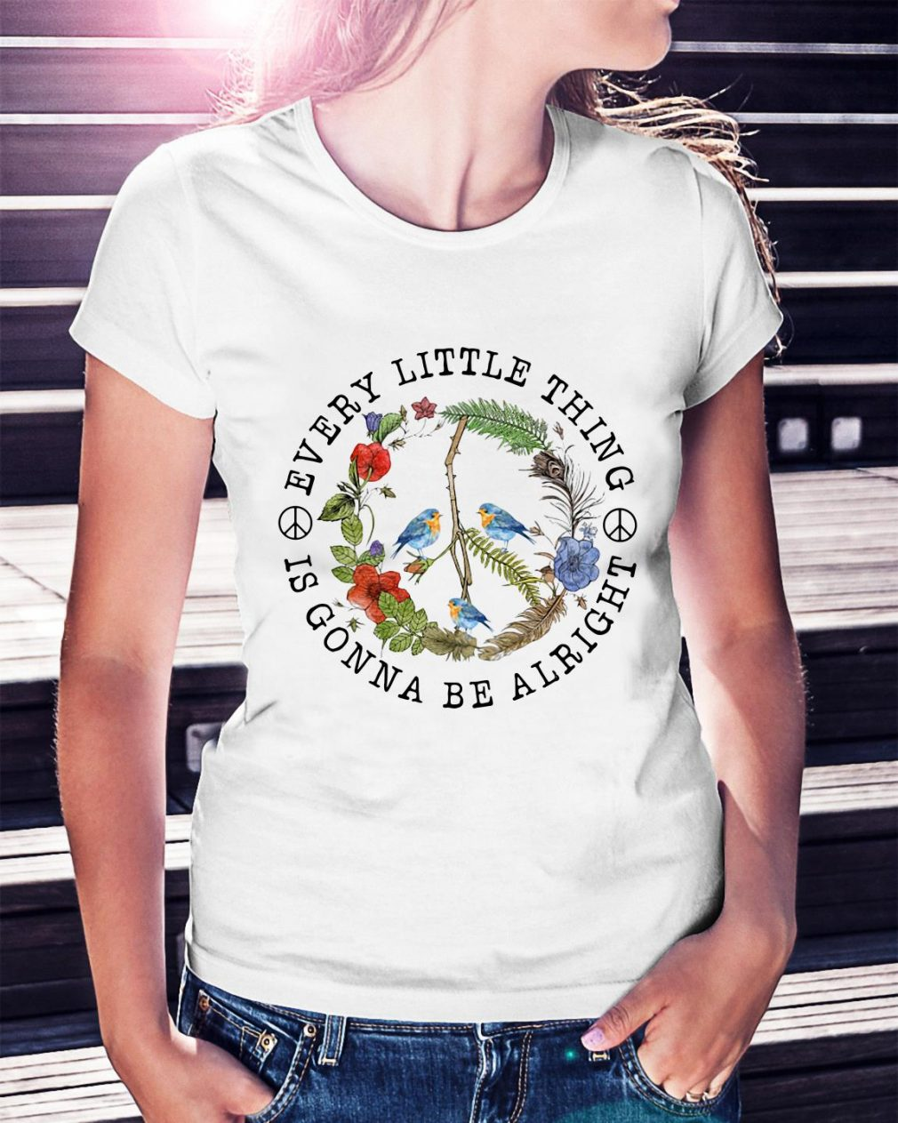 Hippie three birds very little thing is gonna be alright Ladies Tee