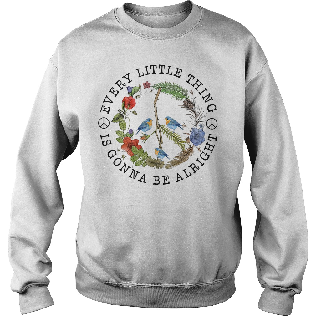 Hippie three birds very little thing is gonna be alright Sweater