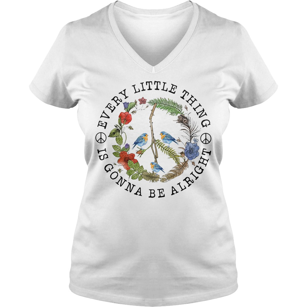 Hippie three birds very little thing is gonna be alright V-neck T-shirt