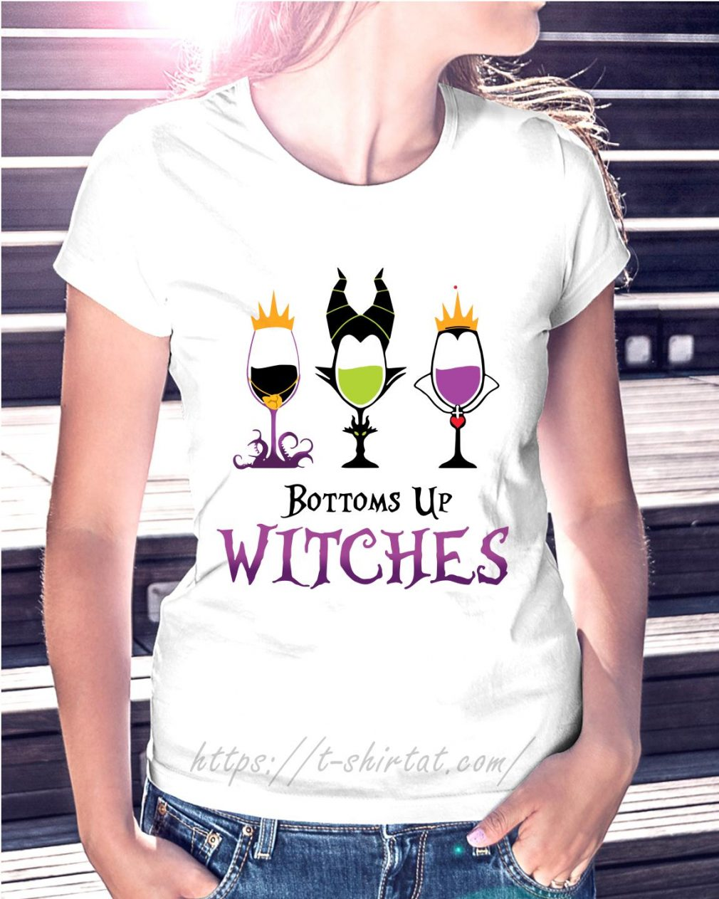 Hocus Pocus bottoms up witches Ladies Tee