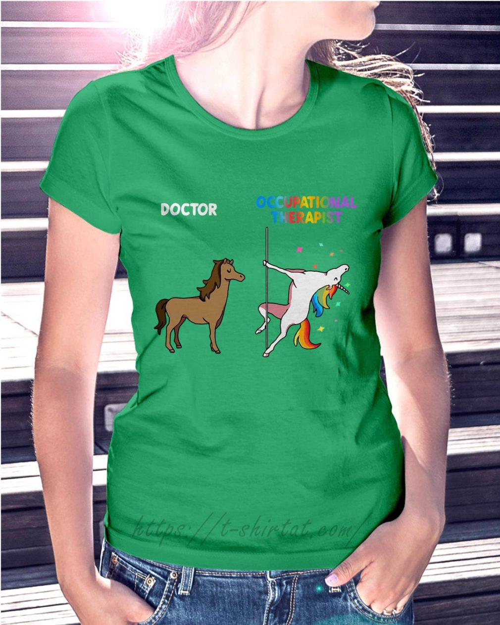 House doctor unicorn occupational therapist Ladies Tee green