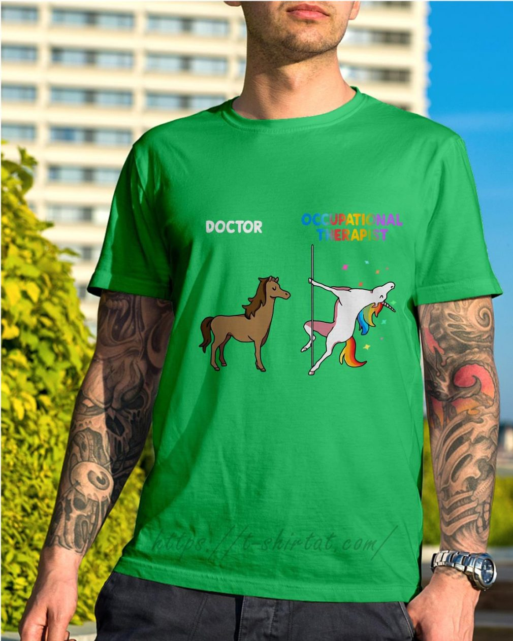 House doctor unicorn occupational therapist Shirt green