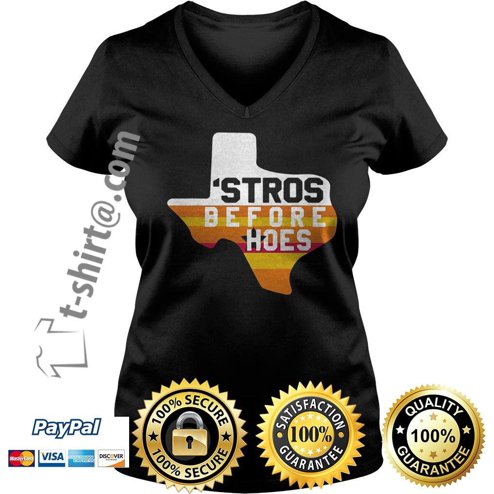 Houston Astros Texas 'Stros before hoes V-neck T-shirt