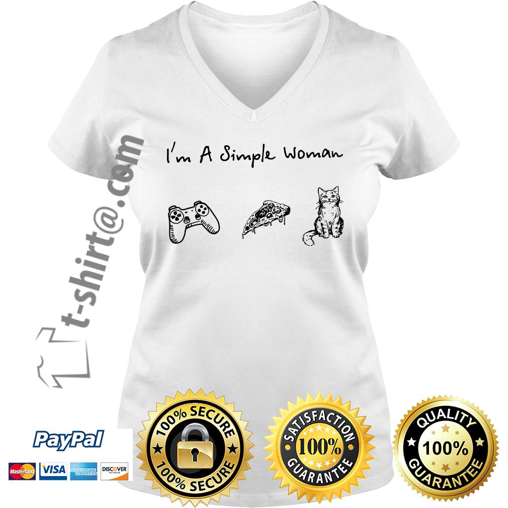 I'm a simple woman I like play game pizza and cat V-neck T-shirt