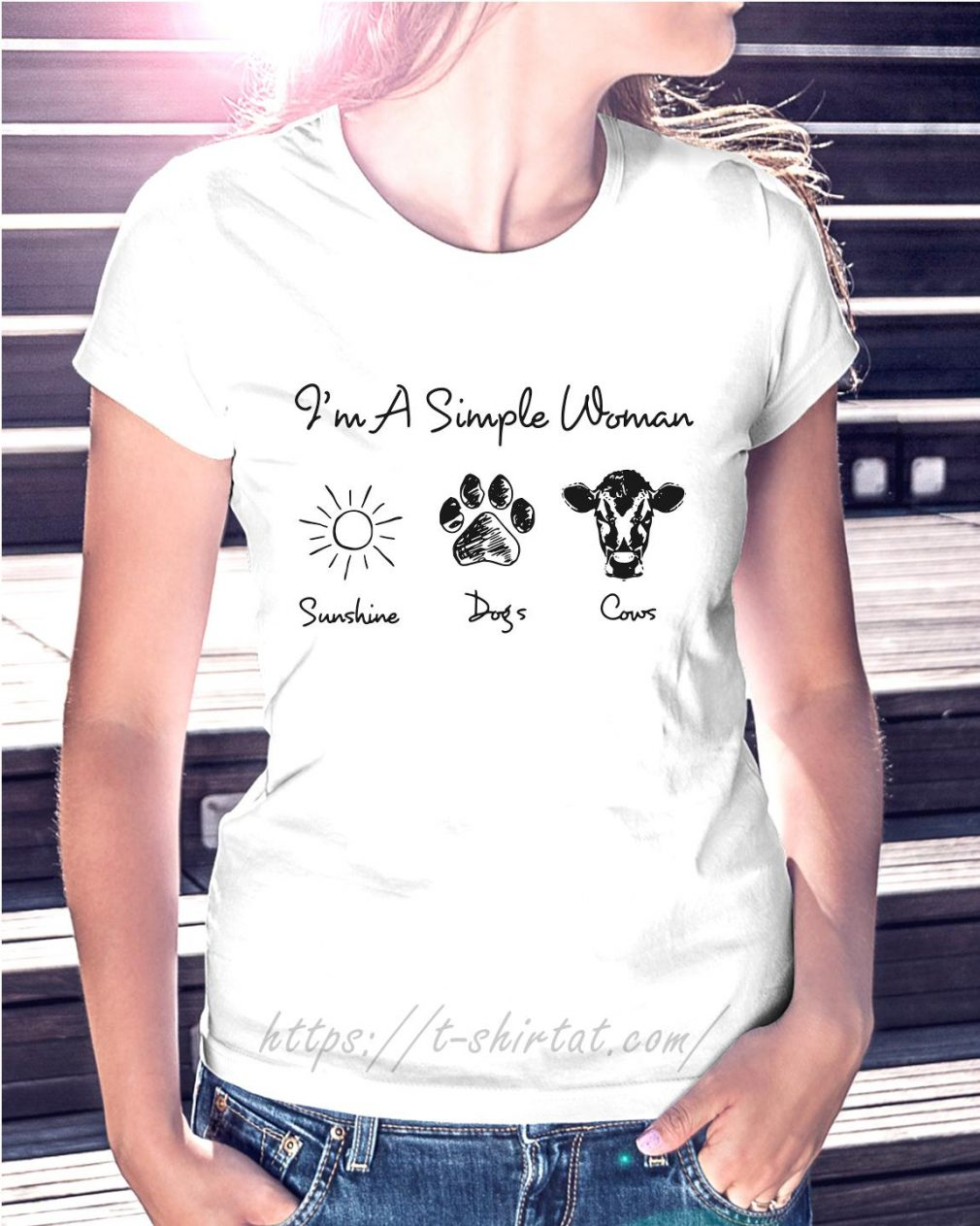 I'm a simple woman I like sunshine paw dogs and cows Ladies Tee