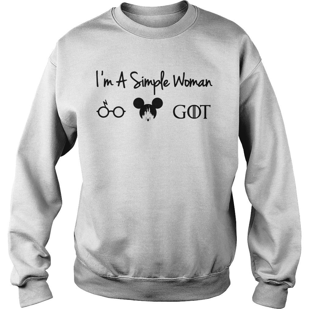 I'm a simple woman I like Harry Potter Walt Disney and GOT Sweater