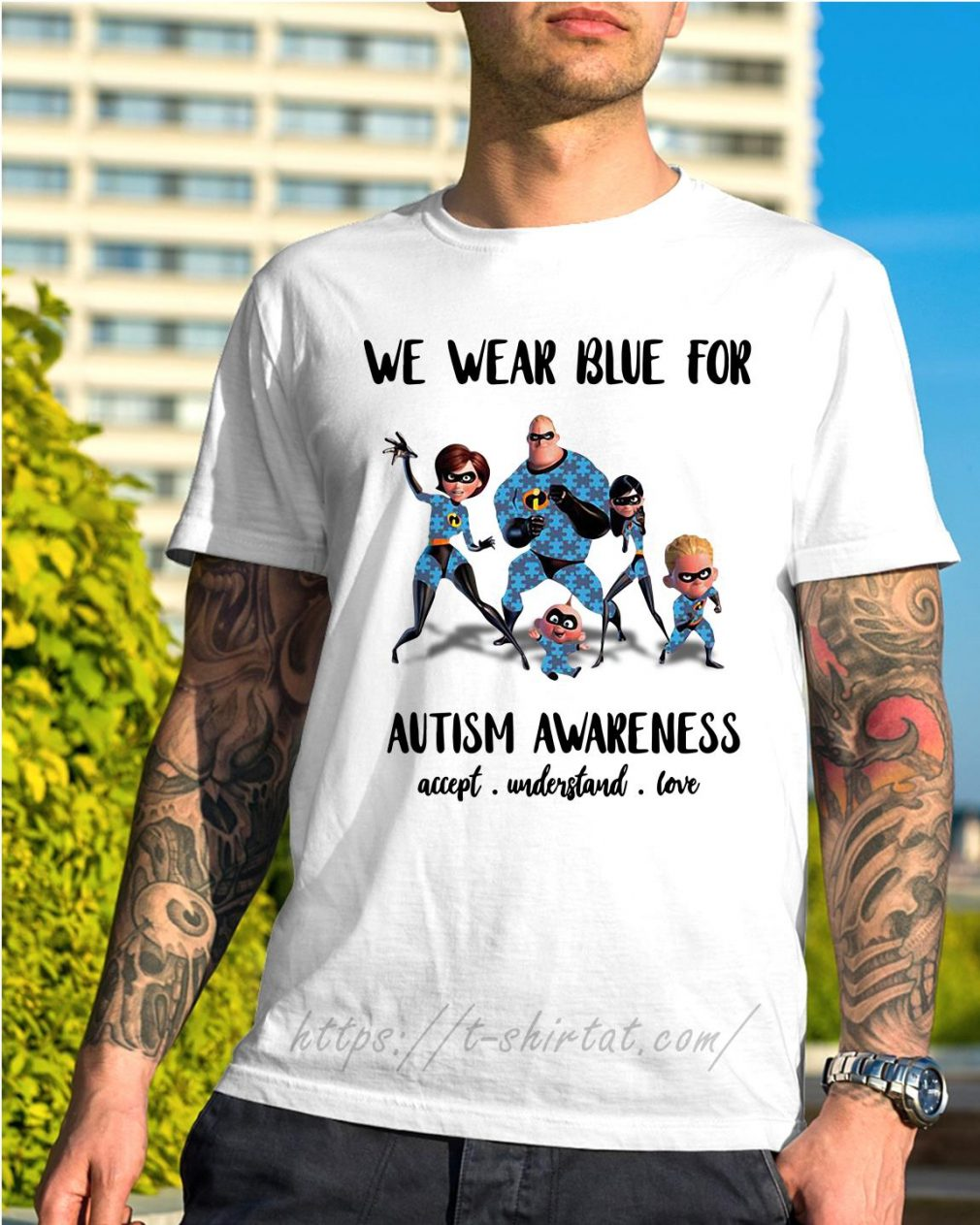 Incredible family we wear blue for Autism awareness accept understand love shirt