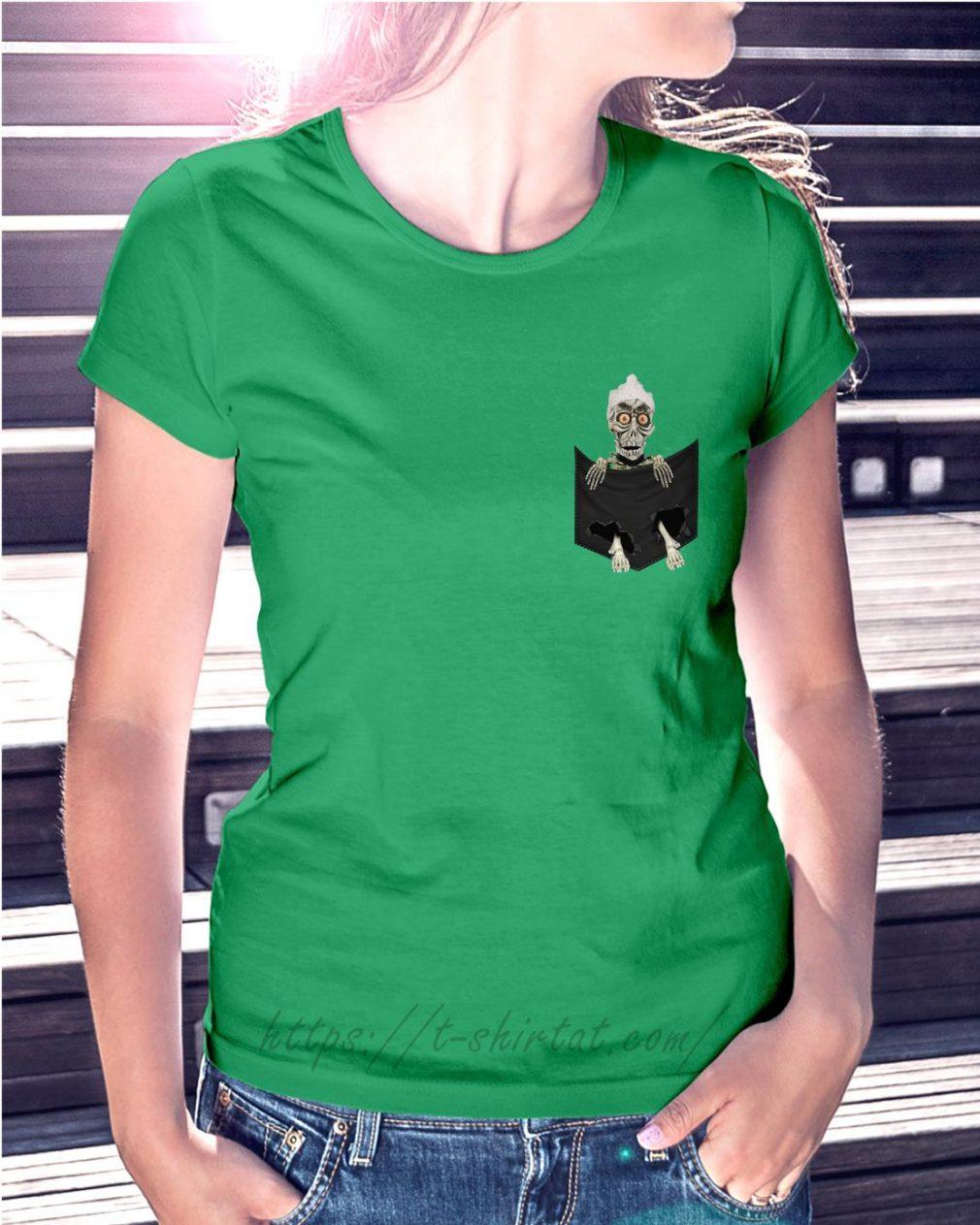 Jack Skellington in a pocket Ladies tee green