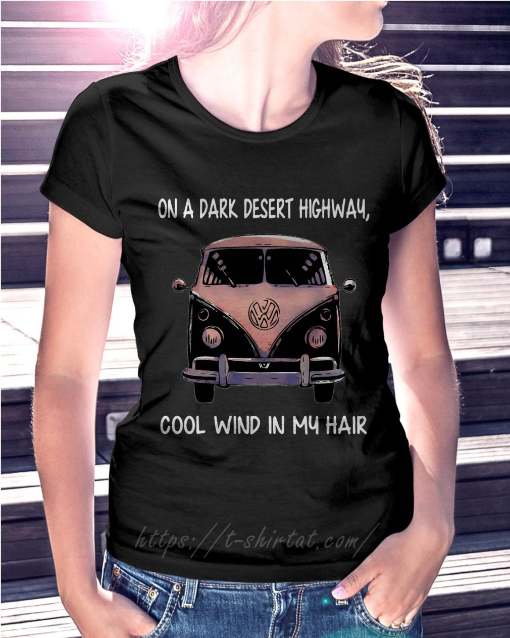 Jeep on a dark desert highway cool wind in my hair Ladies Tee