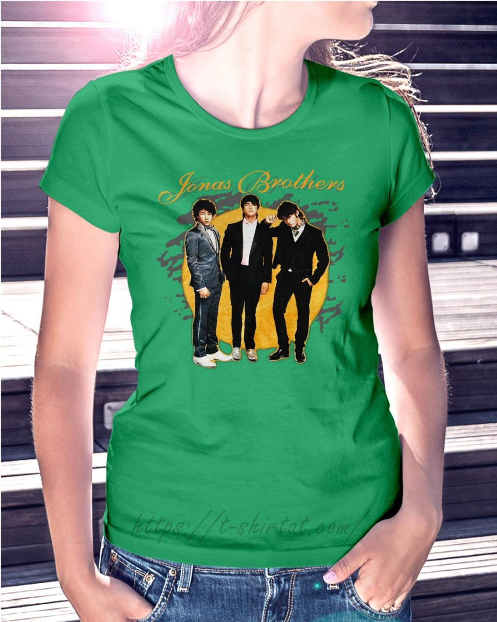 Jonas Brothers concert Ladies tee green